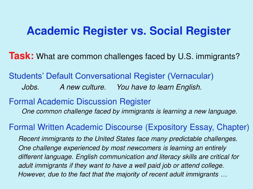 Academic Register vs. Social Register