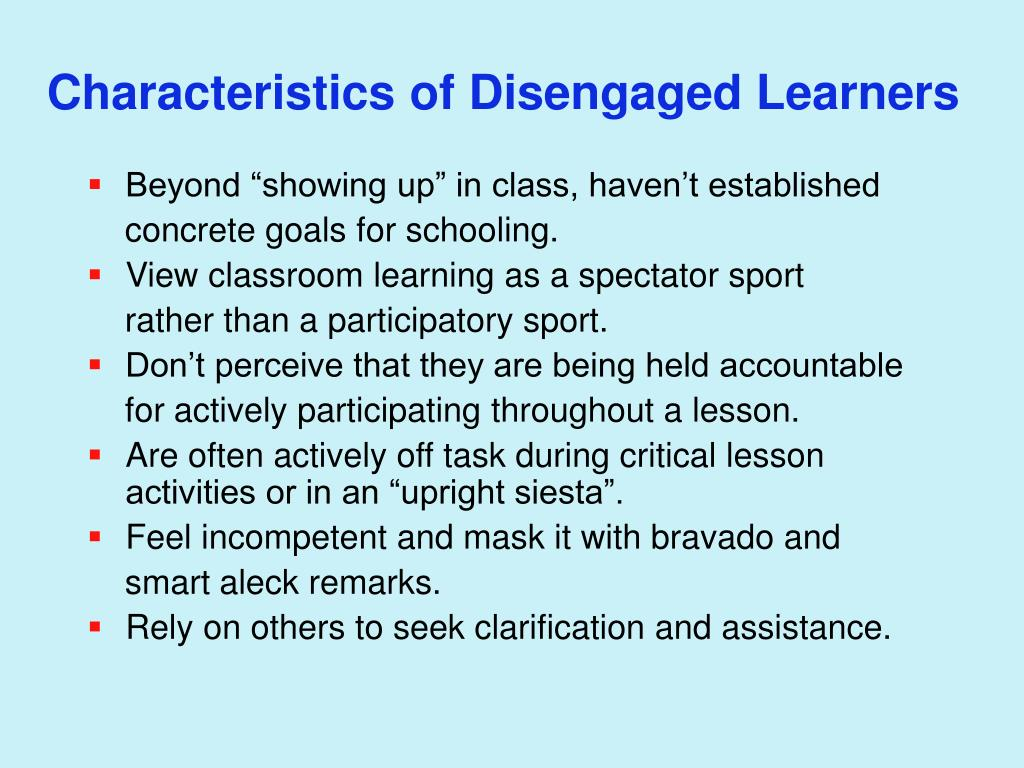 Characteristics of Disengaged Learners