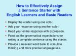 how to effectively assign a sentence starter with english learners and basic readers