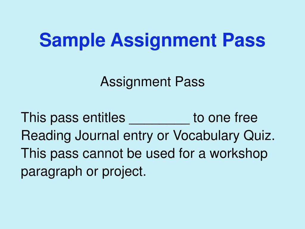 Sample Assignment Pass