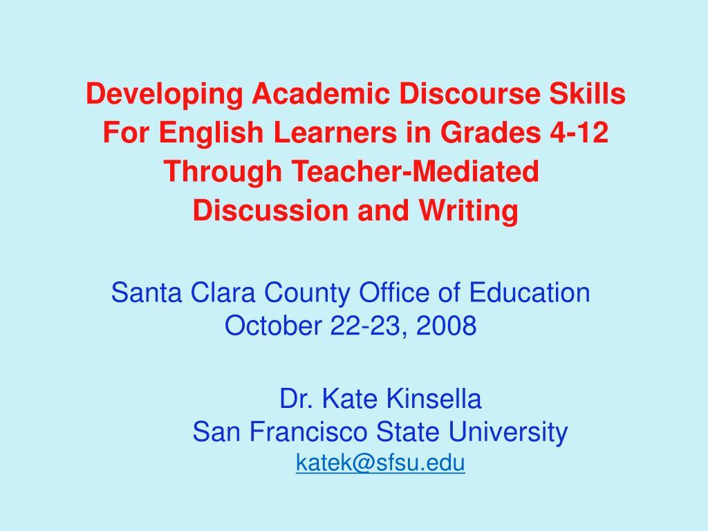 Developing Academic Discourse Skills