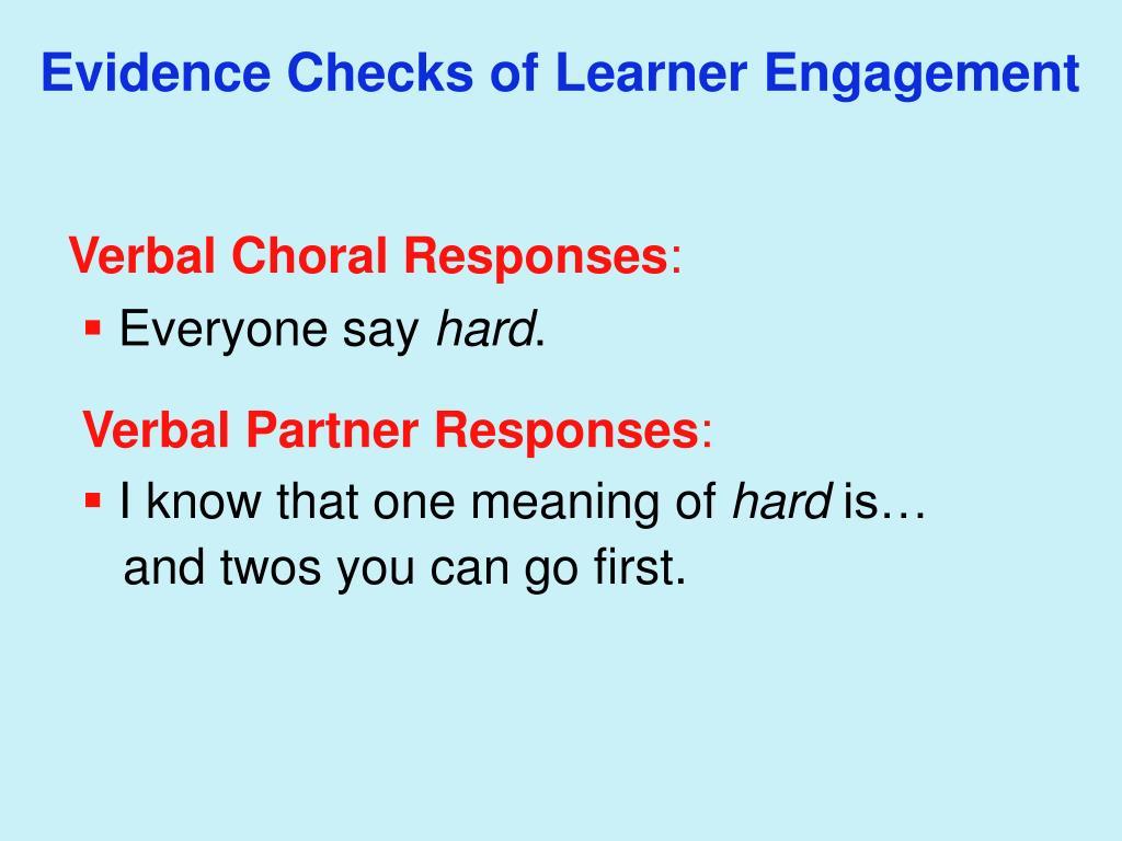 Evidence Checks of Learner Engagement