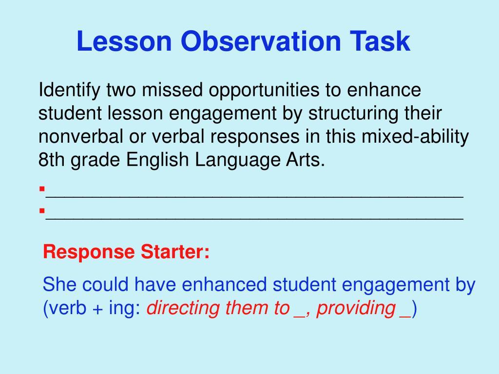 Lesson Observation Task