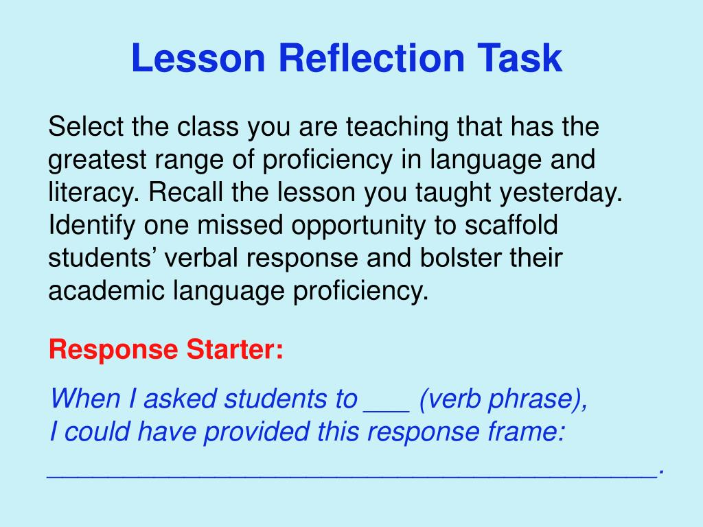 Lesson Reflection Task