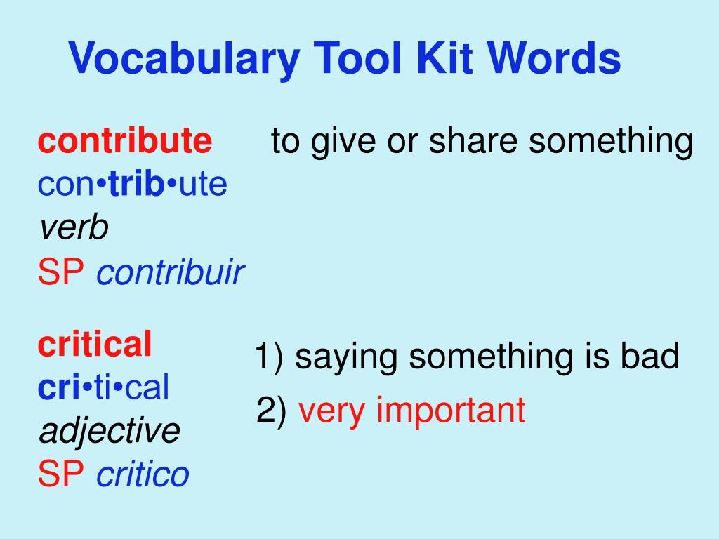 Vocabulary Tool Kit Words