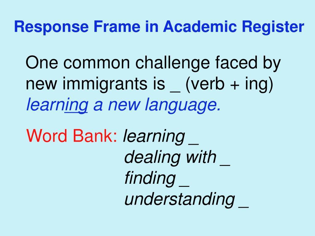 Response Frame in Academic Register