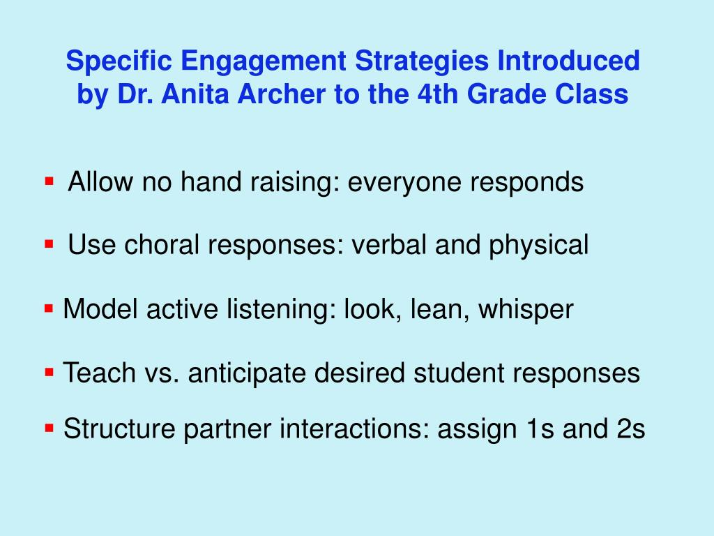 Specific Engagement Strategies Introduced