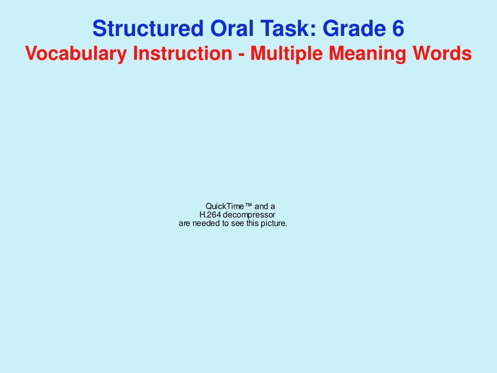 Structured Oral Task: Grade 6
