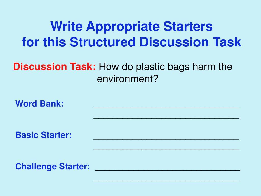 Write Appropriate Starters