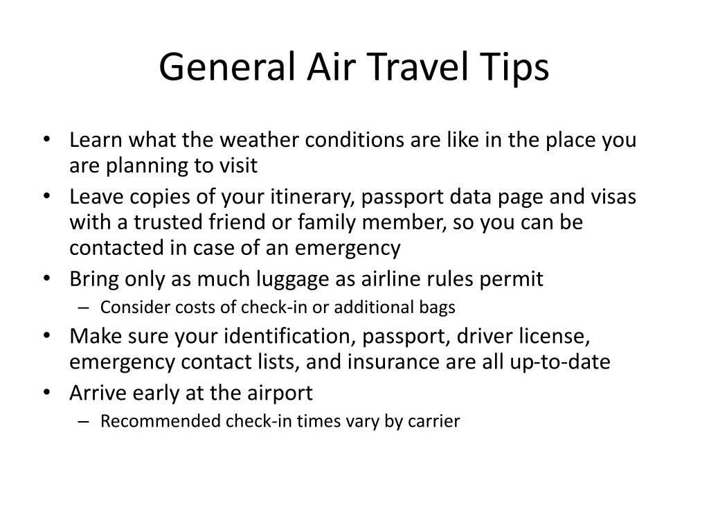 General Air Travel Tips