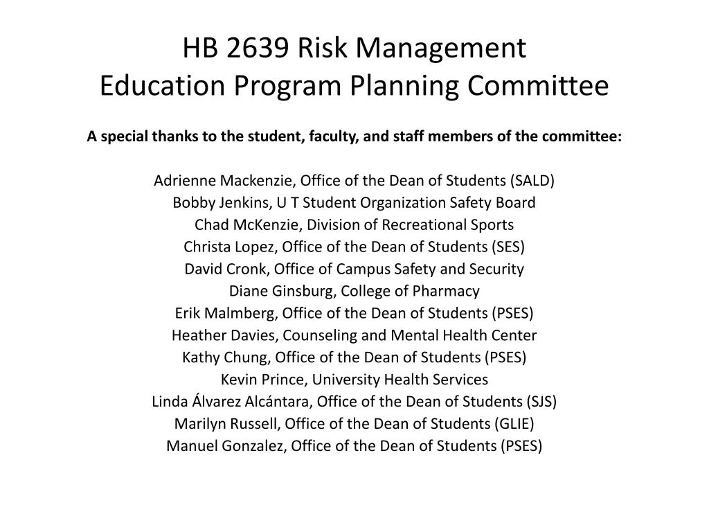 HB 2639 Risk Management