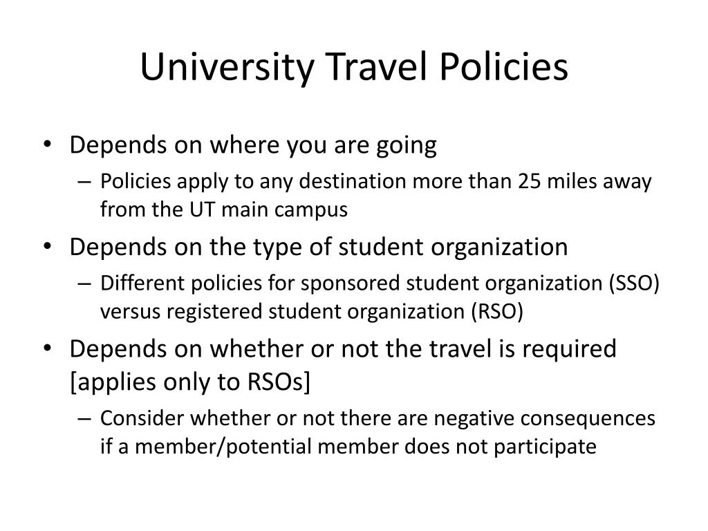 University Travel Policies