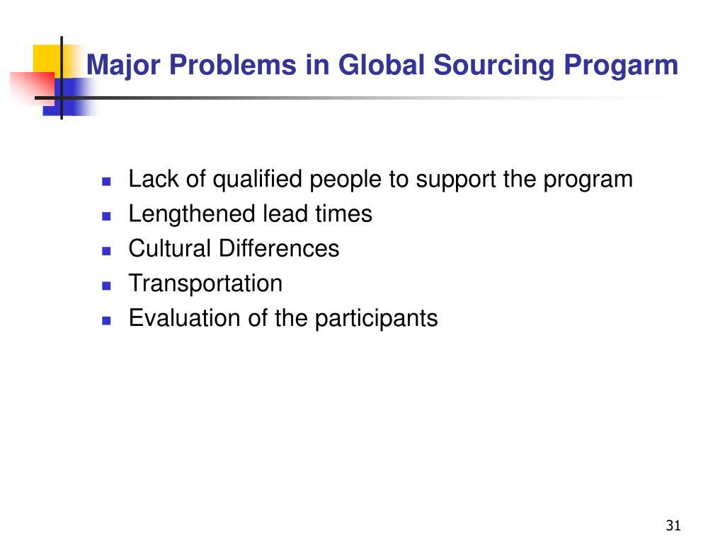 Major Problems in Global Sourcing Progarm