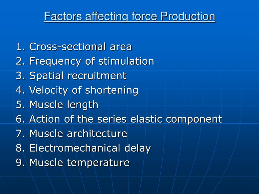 Factors affecting force Production