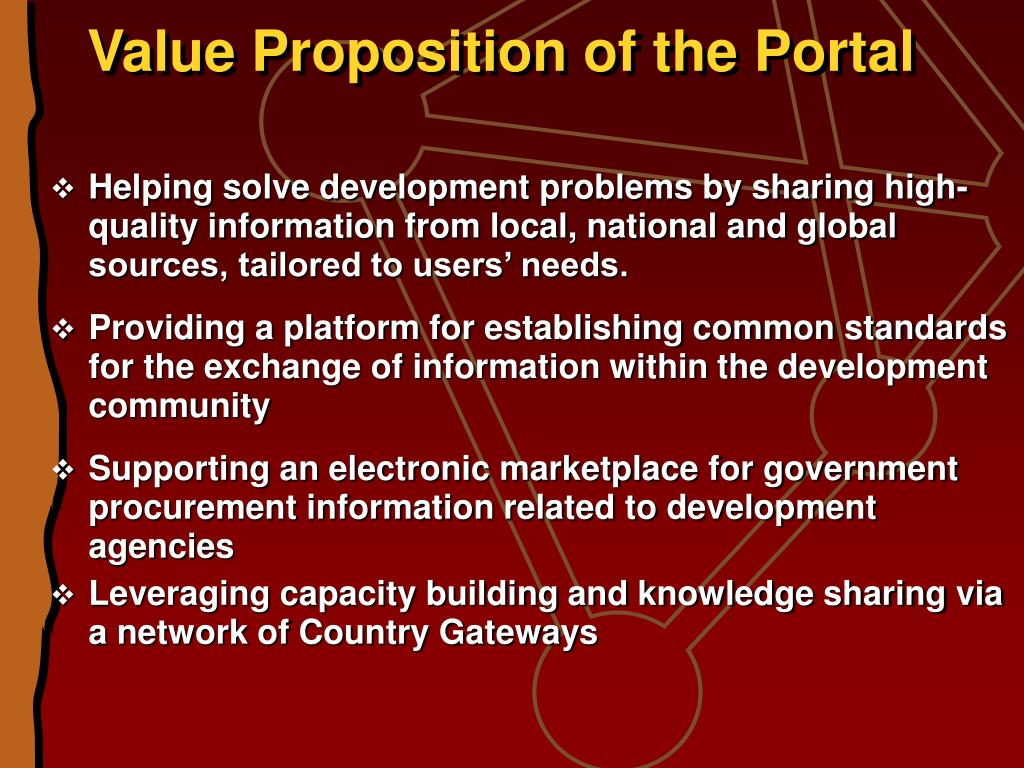 Value Proposition of the Portal
