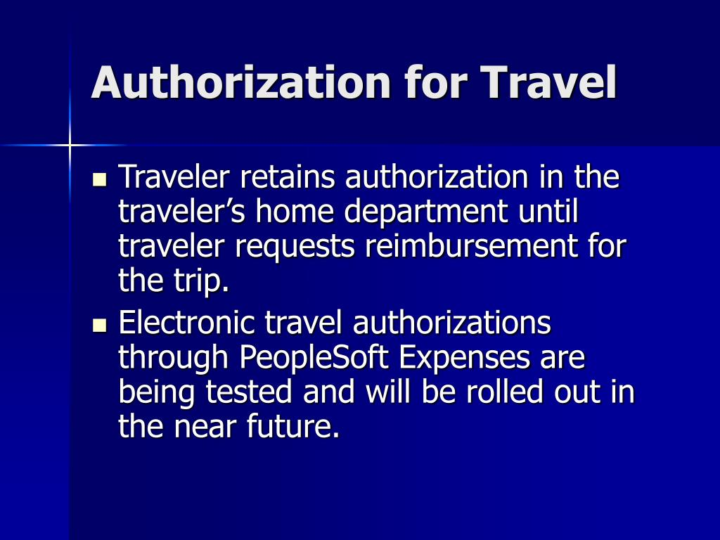 Authorization for Travel