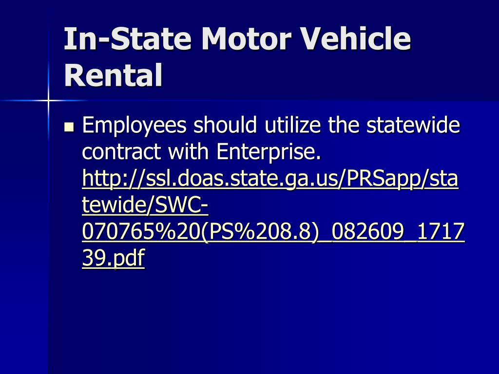 In-State Motor Vehicle Rental