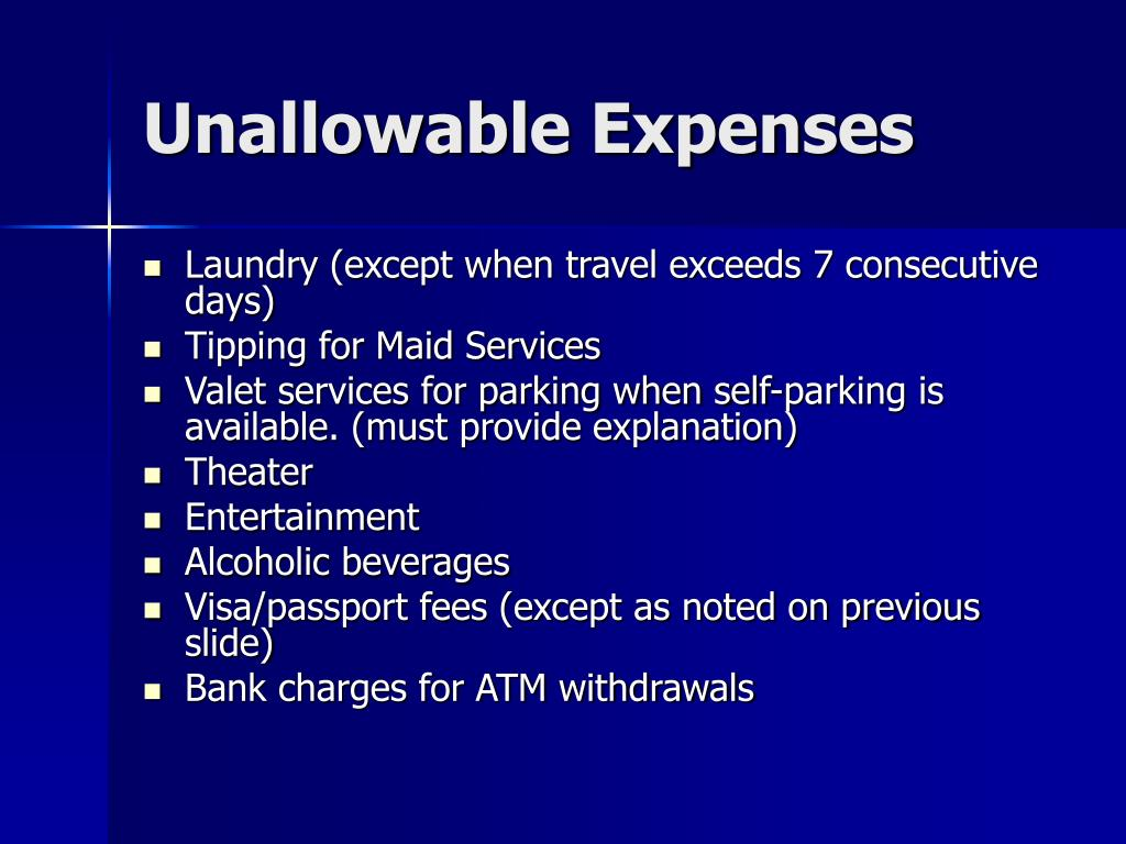 Unallowable Expenses