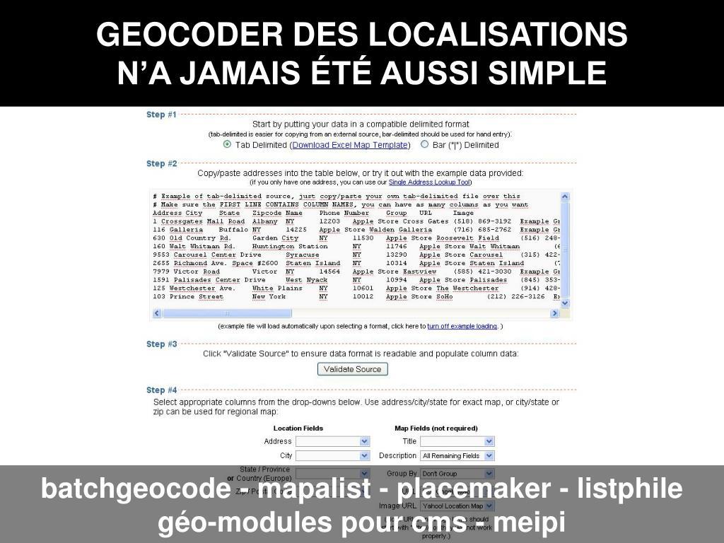 GEOCODER DES LOCALISATIONS