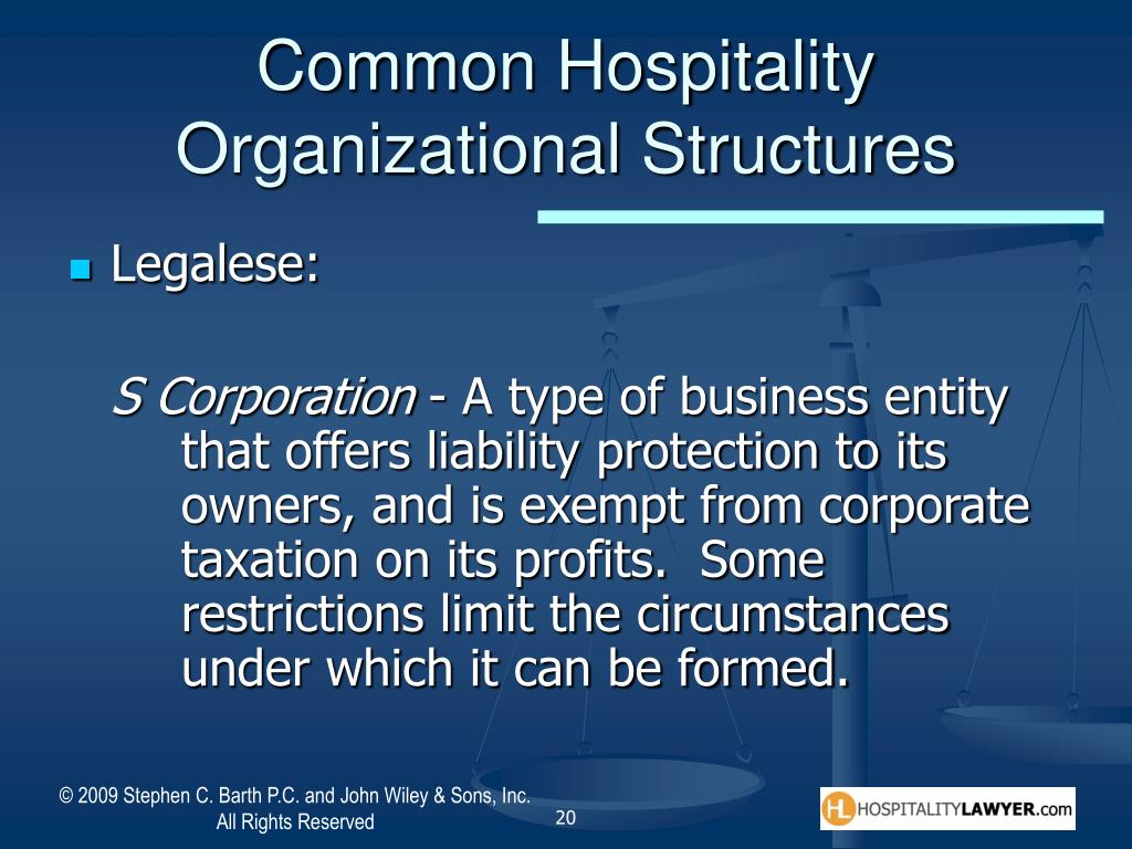 Common Hospitality Organizational Structures