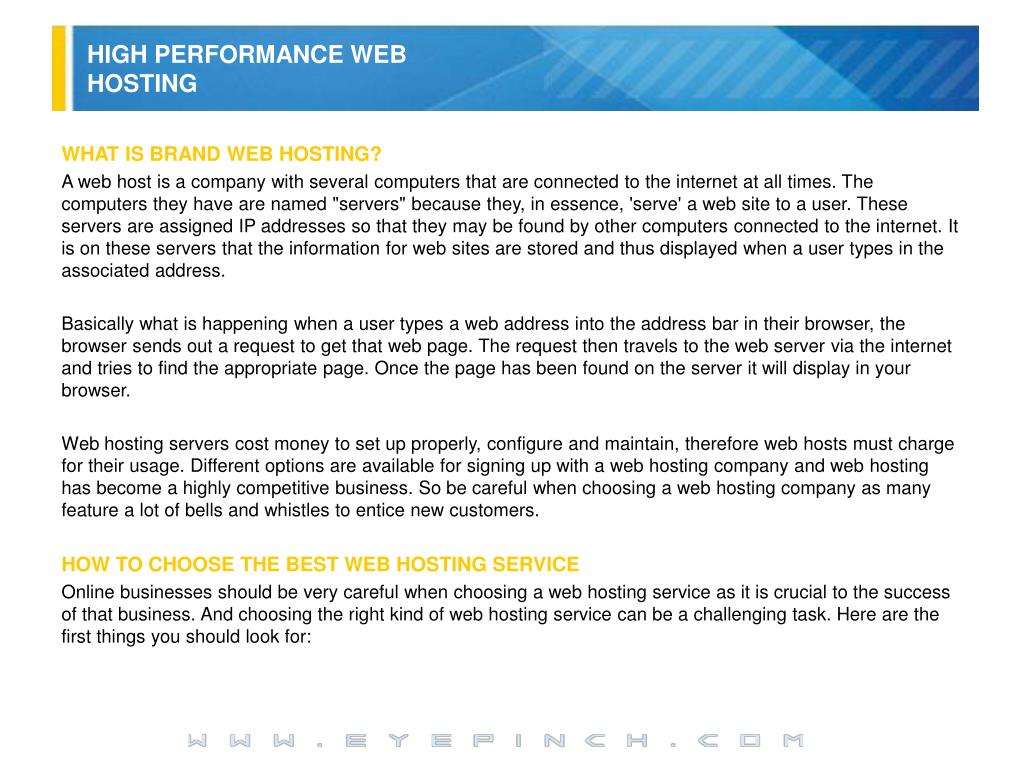 HIGH PERFORMANCE WEB HOSTING
