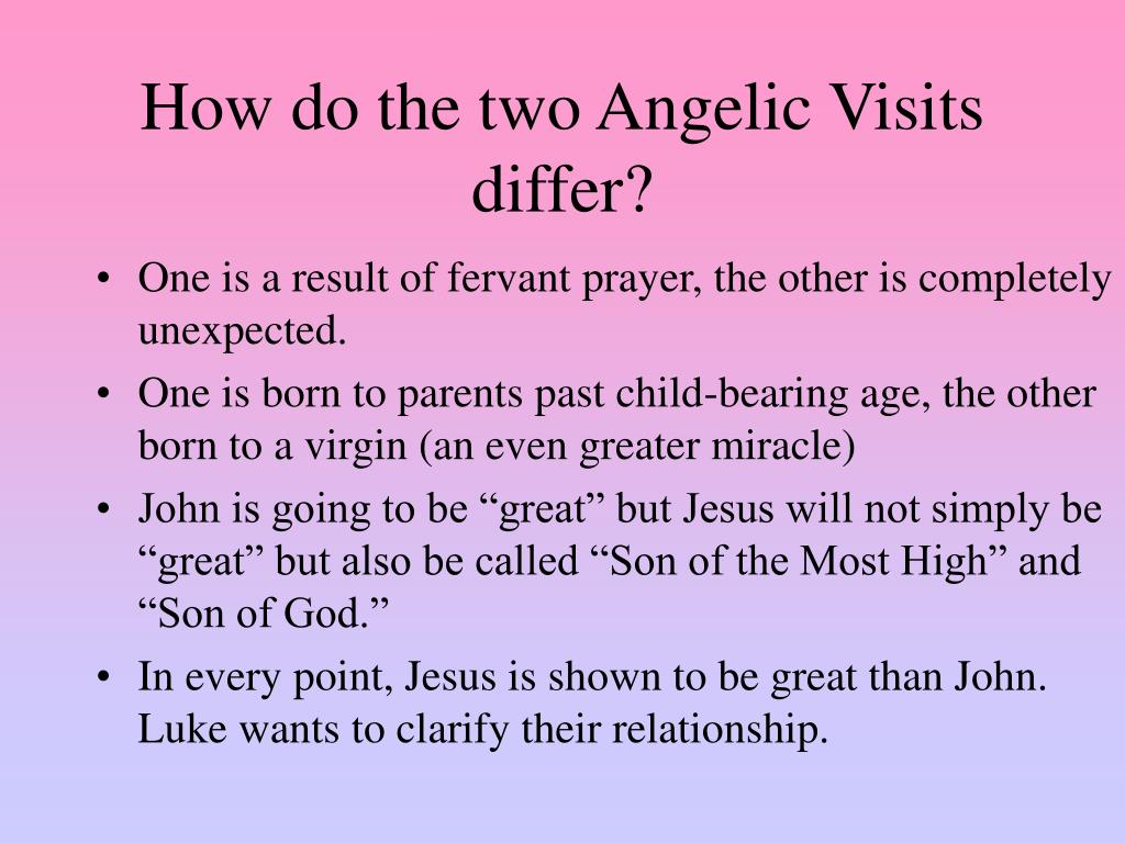 How do the two Angelic Visits differ?