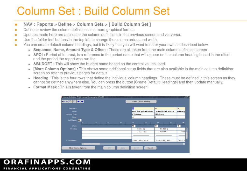 Column Set : Build Column Set