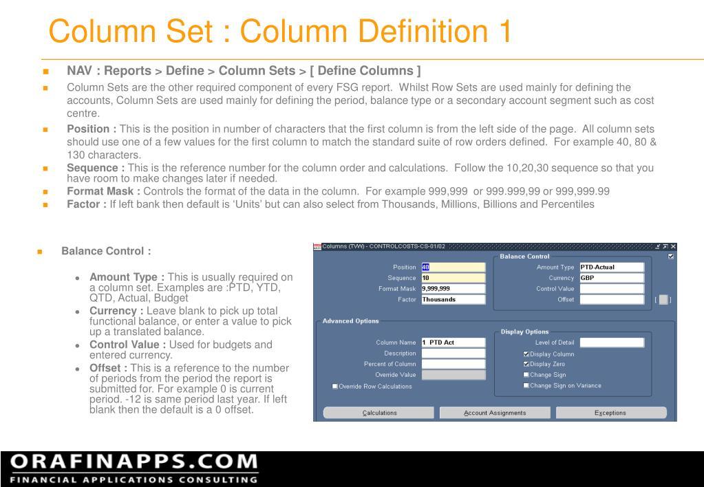 Column Set : Column Definition 1