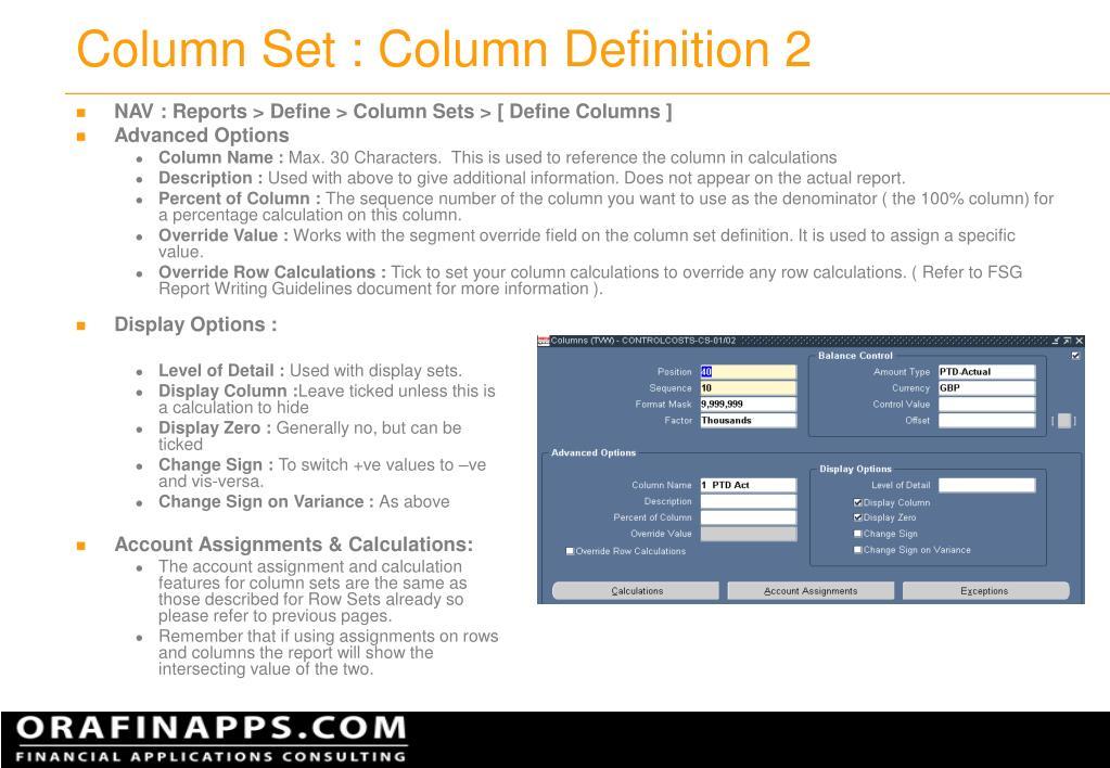 Column Set : Column Definition 2