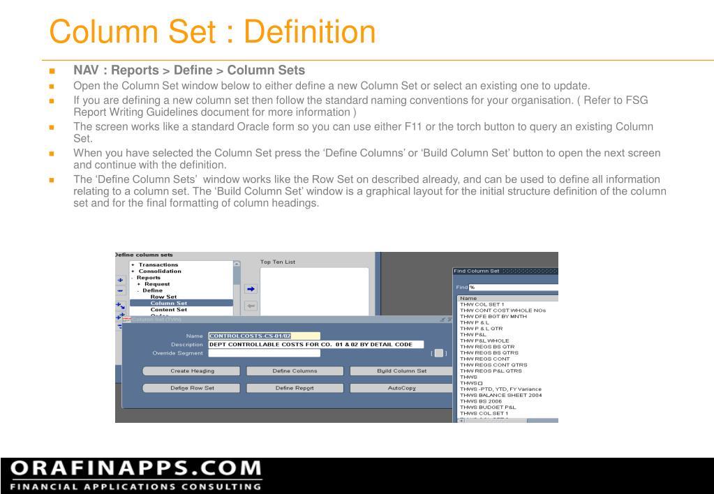 Column Set : Definition