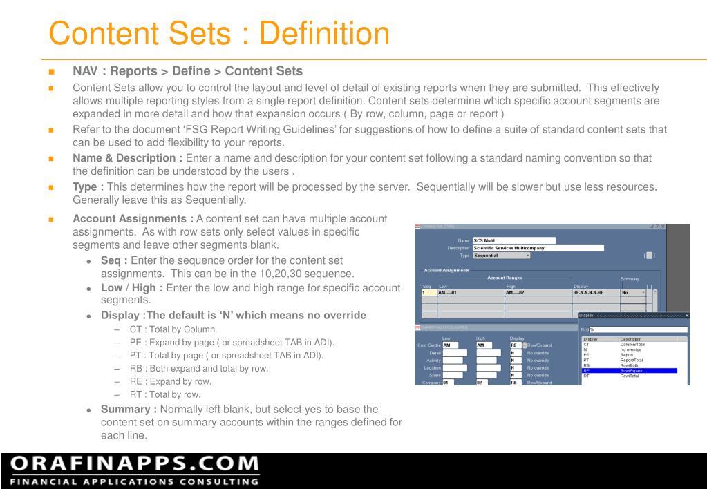 Content Sets : Definition