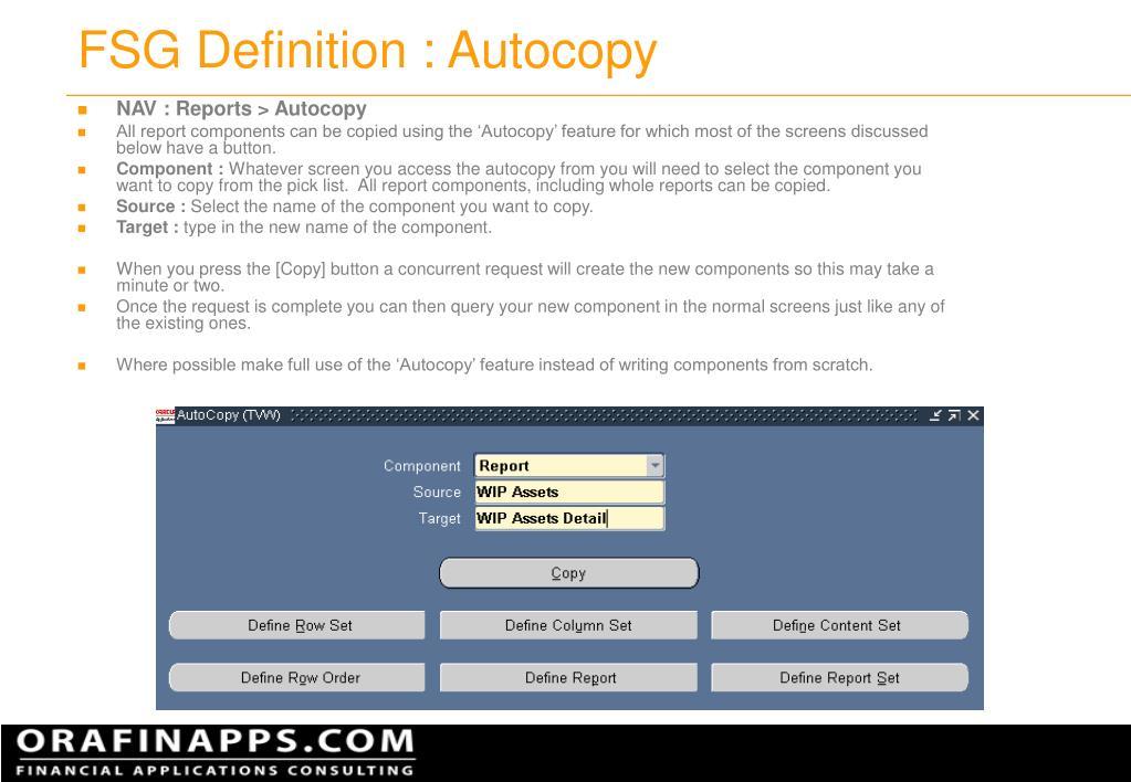 FSG Definition : Autocopy