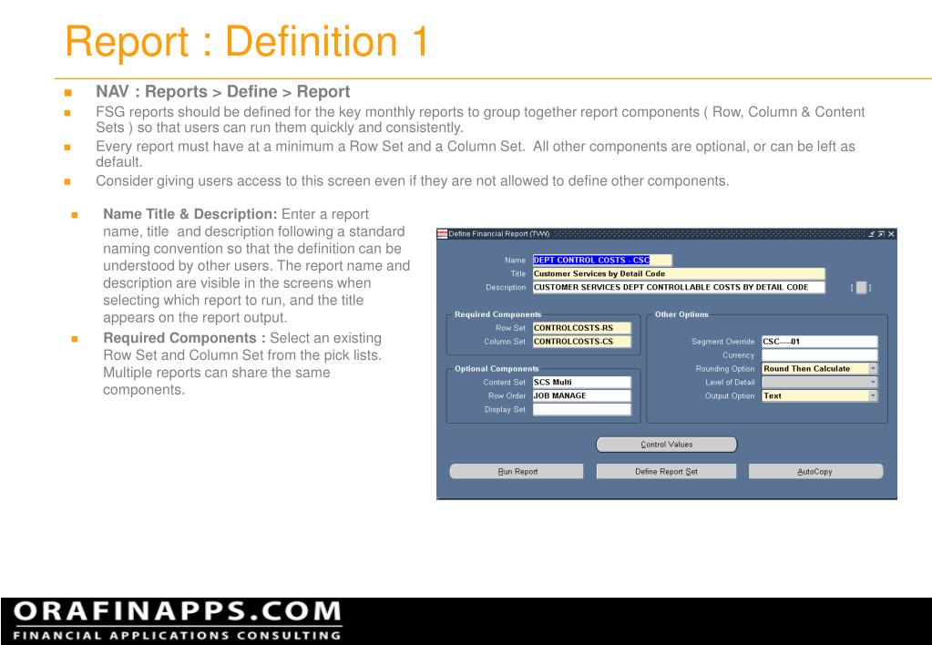 Report : Definition 1