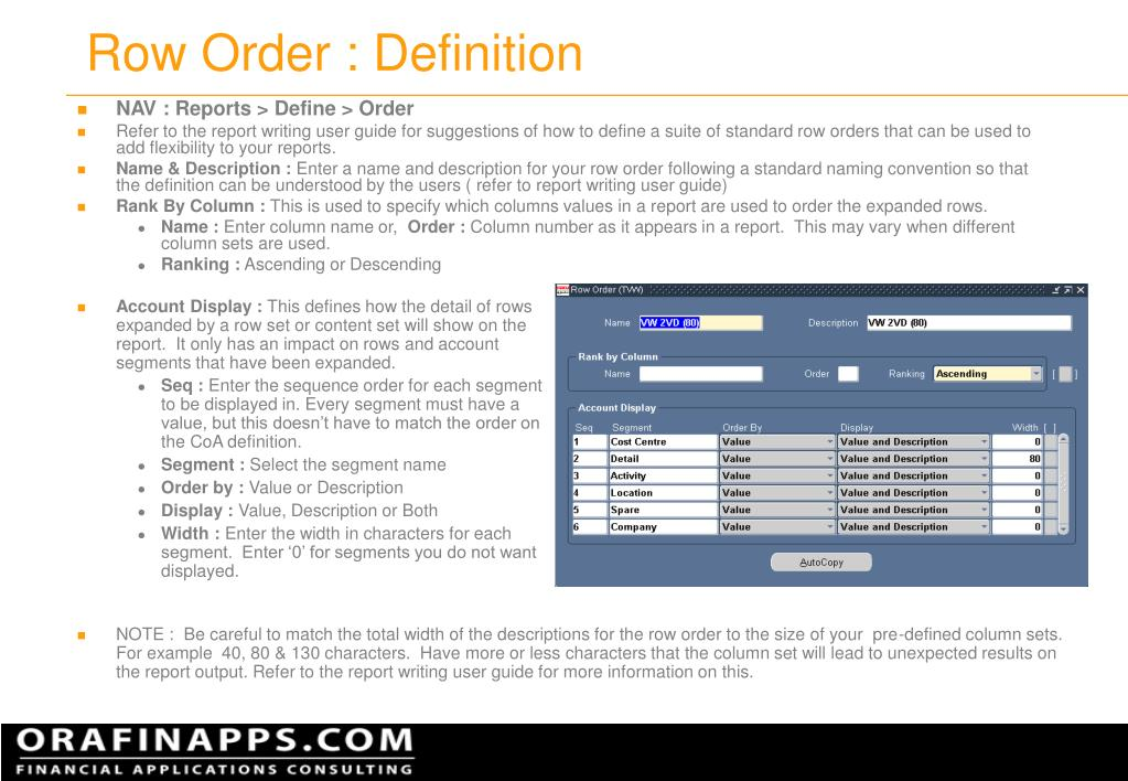 Row Order : Definition