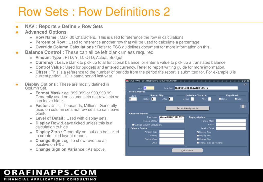 Row Sets : Row Definitions 2