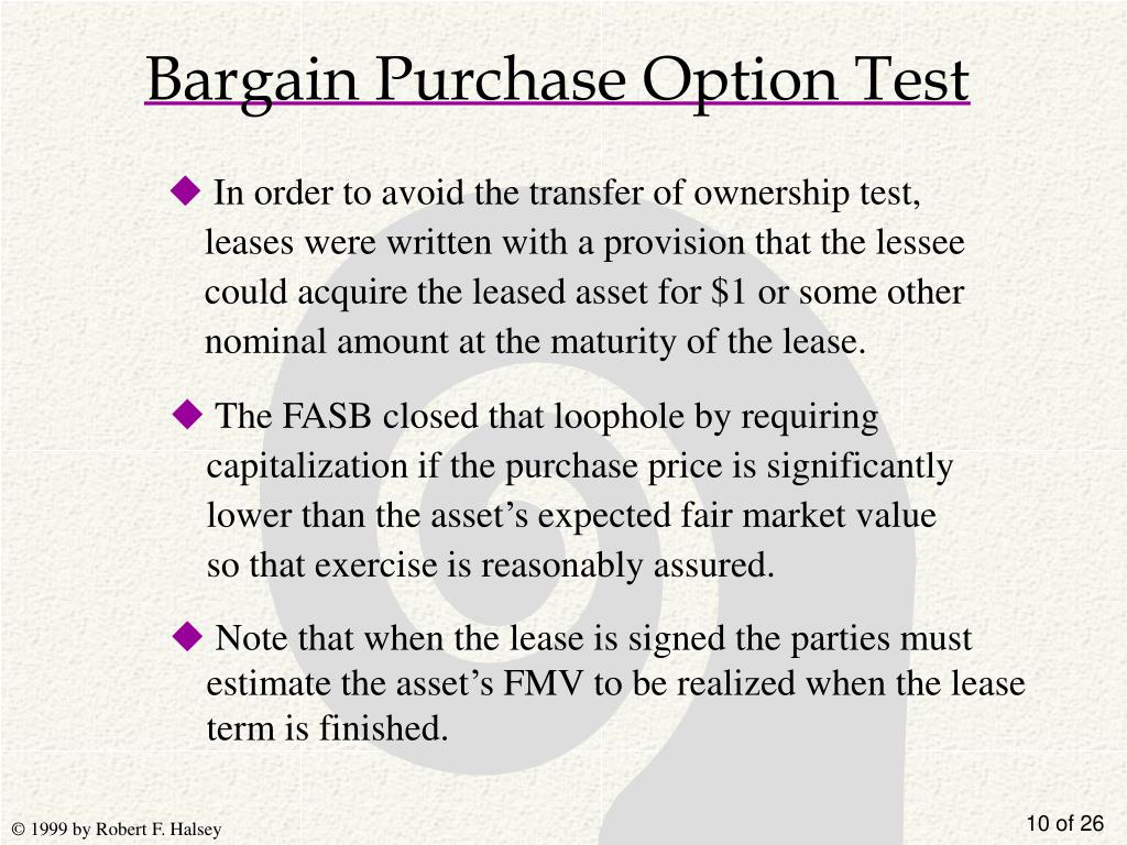 Bargain Purchase Option Test