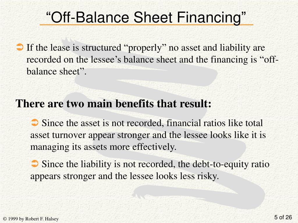 """Off-Balance Sheet Financing"""