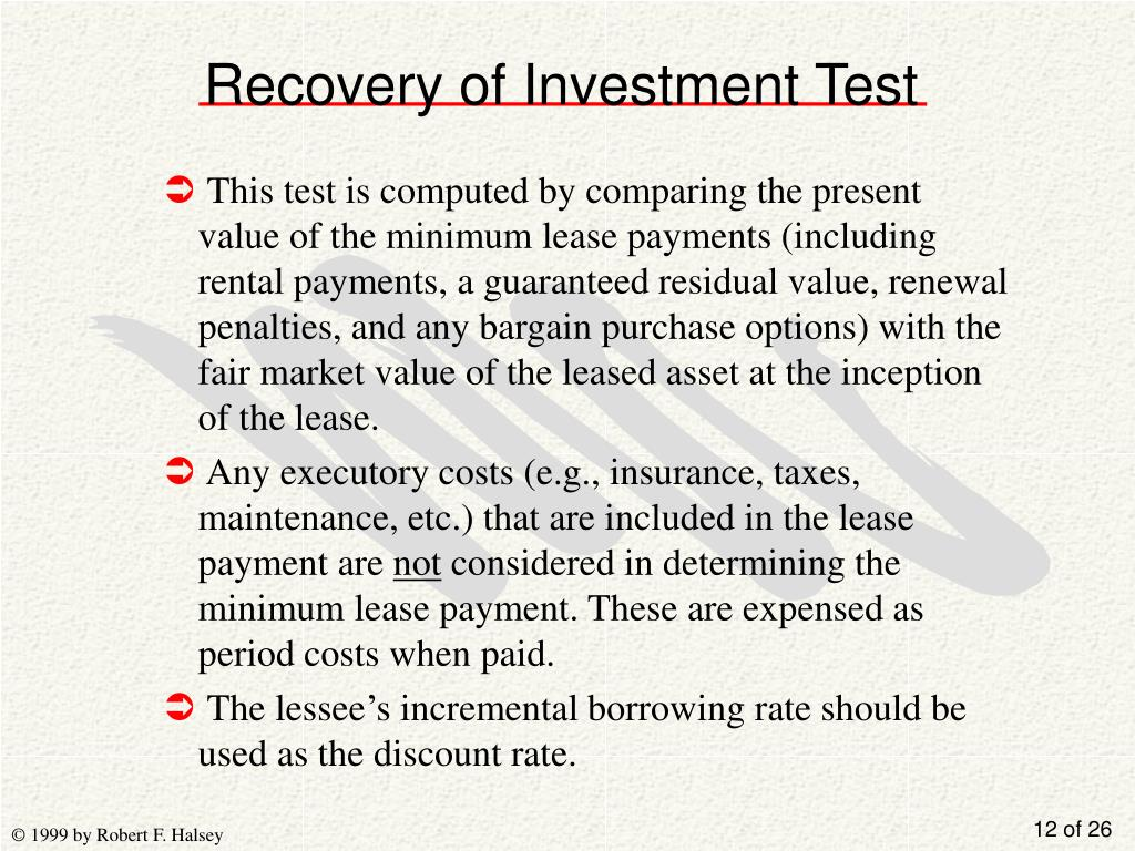 Recovery of Investment Test