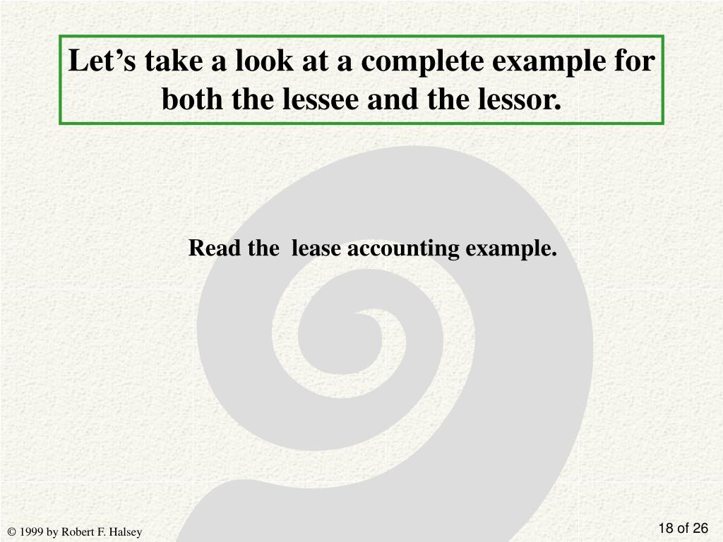 Let's take a look at a complete example for both the lessee and the lessor.
