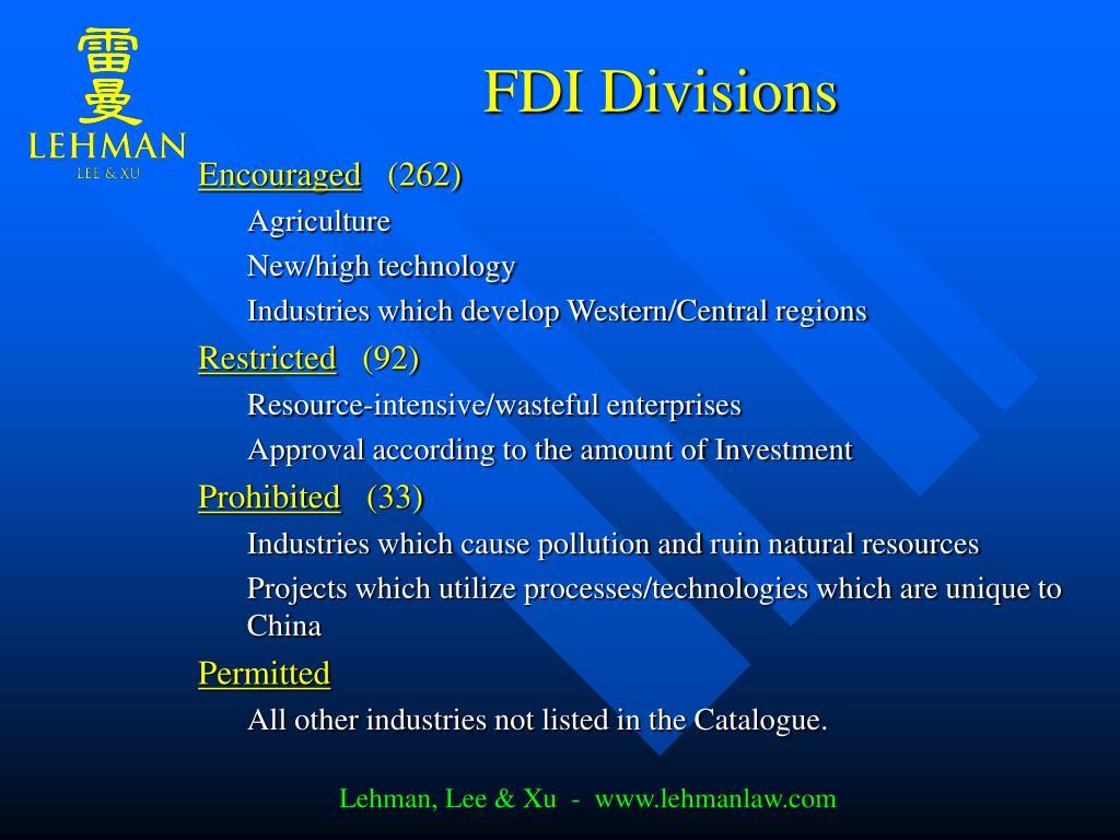 FDI Divisions