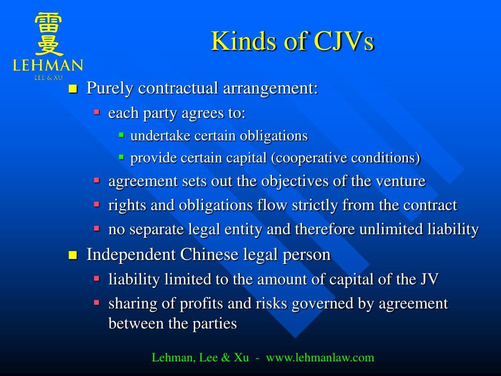 Kinds of CJVs