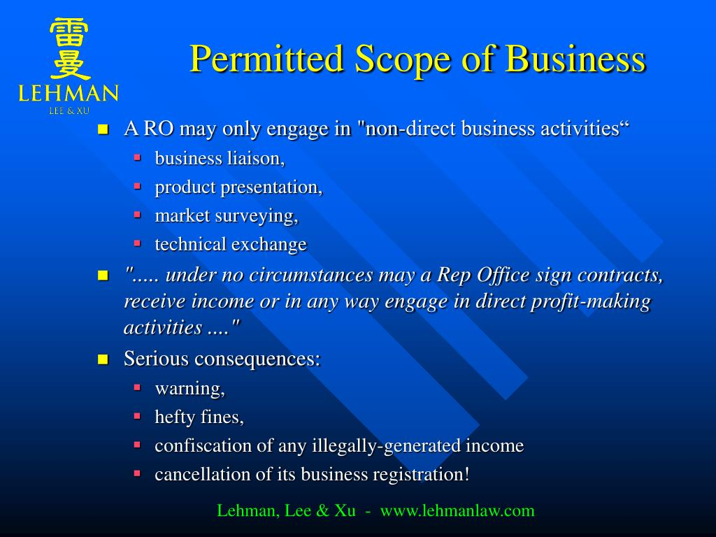 Permitted Scope of Business
