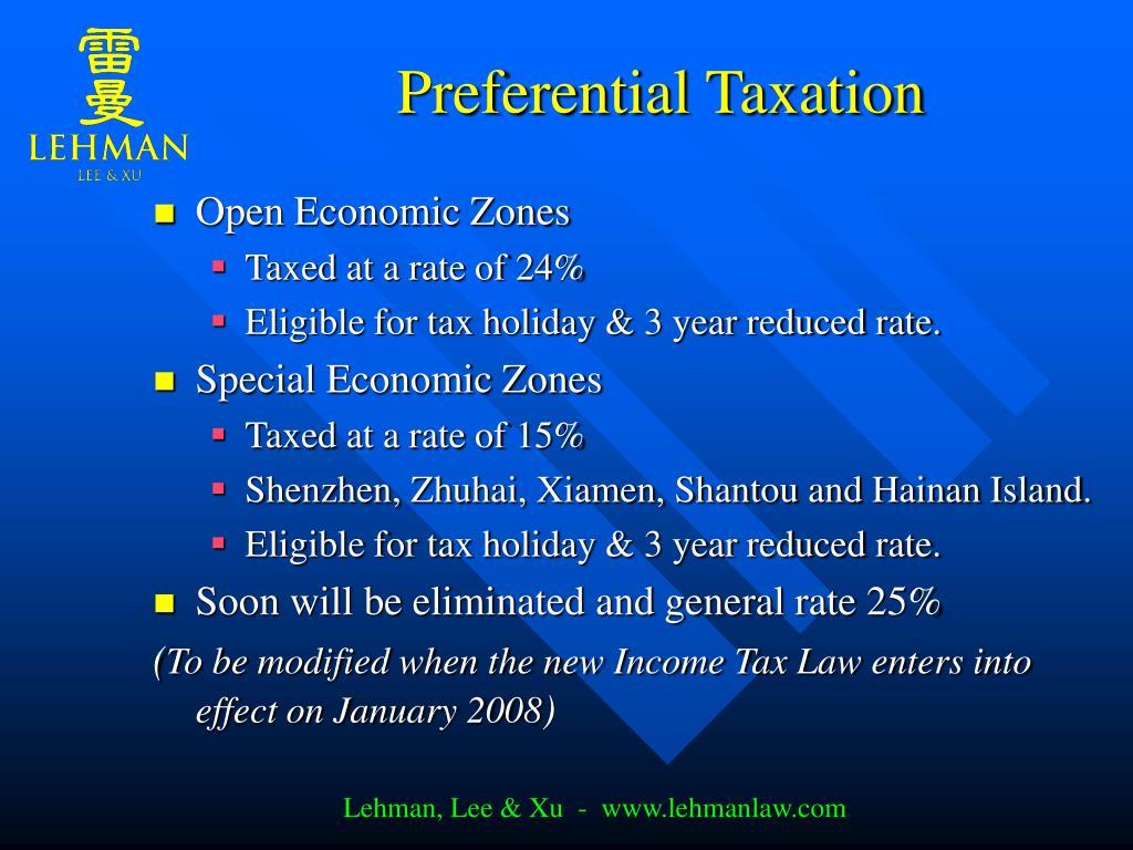 Preferential Taxation