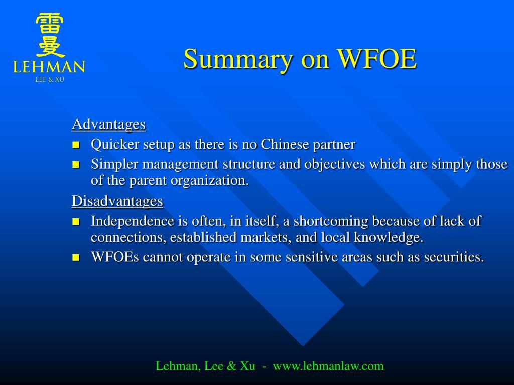 Summary on WFOE