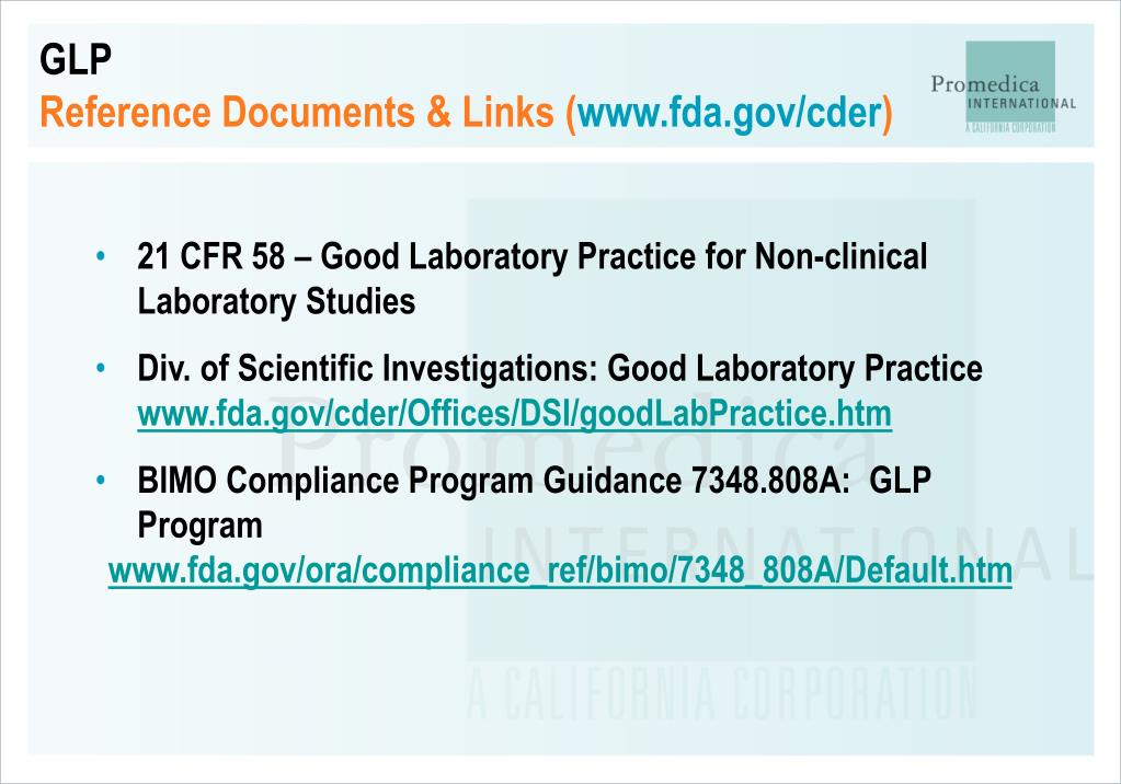 us fda guidelines for glp in non-clinical testing laboratories pdf