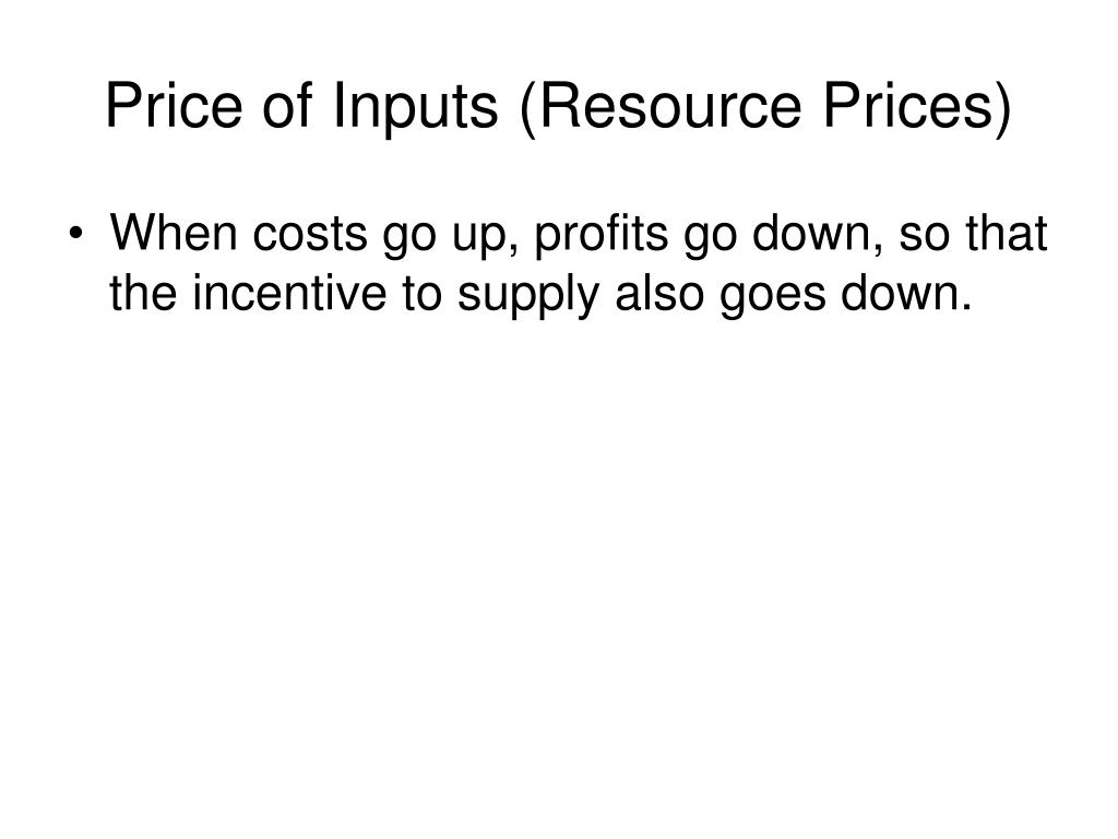 Price of Inputs (Resource Prices)