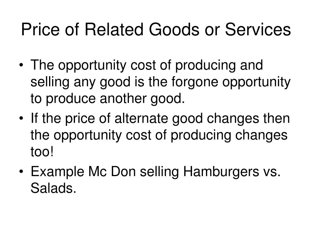 Price of Related Goods or Services
