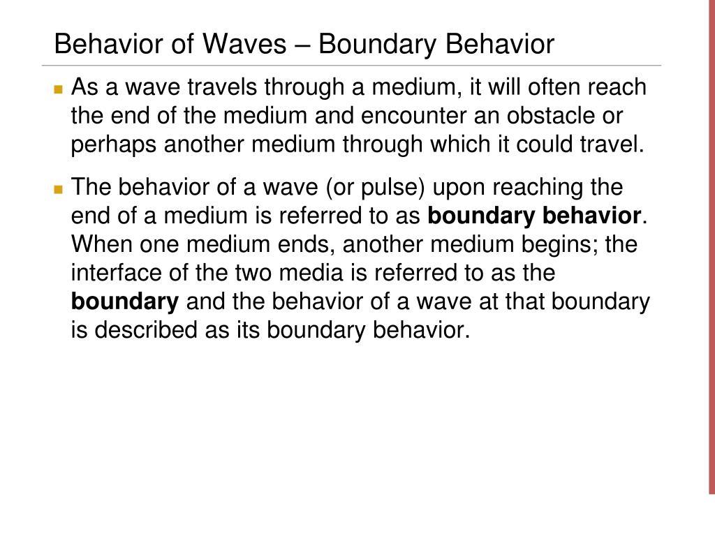 Behavior of Waves – Boundary Behavior