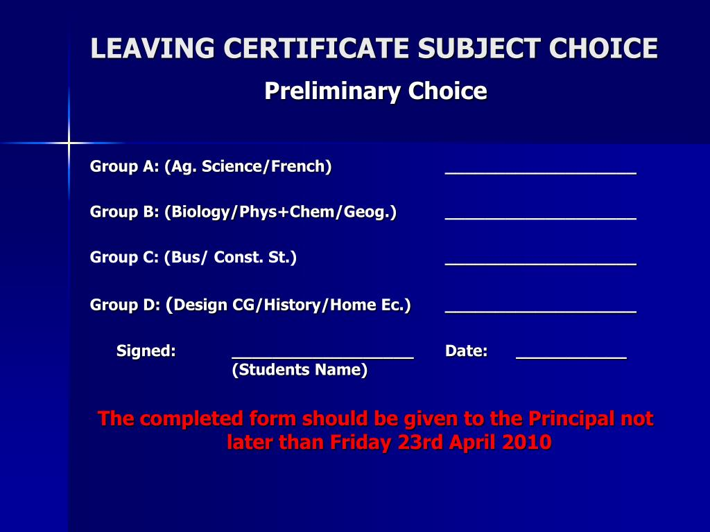 LEAVING CERTIFICATE SUBJECT CHOICE