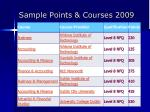 sample points courses 2009